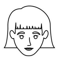 Monochrome contour of smiling woman face with vector