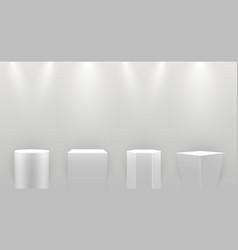 museum pedestals realistic mockups set stands vector image