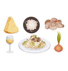 Mushroom risotto served on plate with ingredients vector