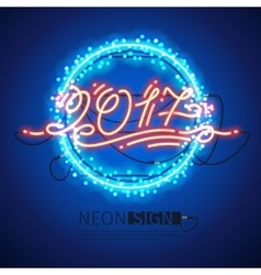 New Year 2017 Neon Sign with Lights vector image