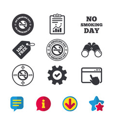No smoking day icons against cigarettes vector