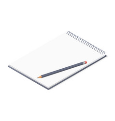 Opened notepad with pencil sketchbook or diary vector