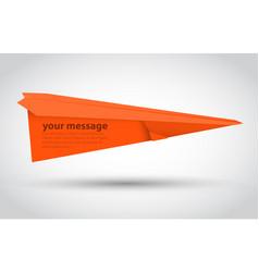 orange paper airplane vector image