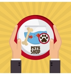 Pet shop with fish design vector image