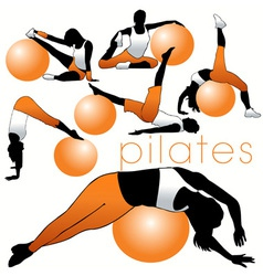 pilates silhouettes vector image