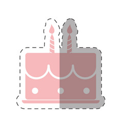 pink birthday cake sweet candles vector image