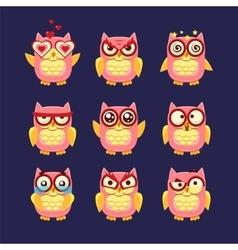 Pink Owl Emoji Collection vector