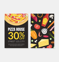 pizza house card template with cooking ingredients vector image
