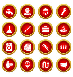 plumber symbols icons set simple style vector image