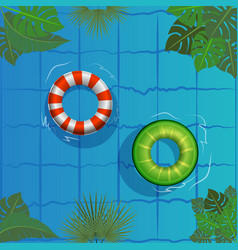 Pool party rubber ring floating on water vector