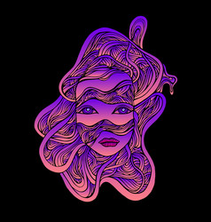 psychedelic fantastic cyborg girl face in wires vector image