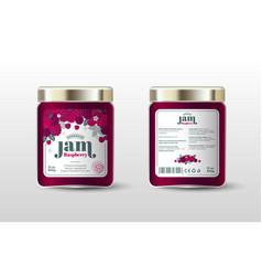 Raspberry jam label jar packaging sugar free vector