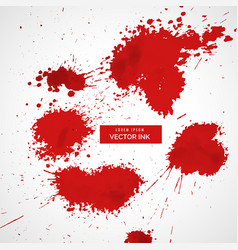 Red blood splatter set vector