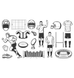 Rugby sport football american game players items vector