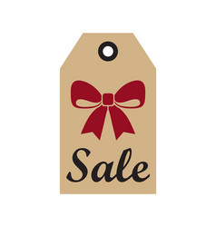Sale promo label with christmas red bow new year vector