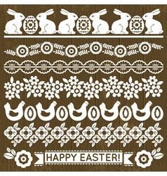 Set of Lace Paper with flowers and easter eggs vector