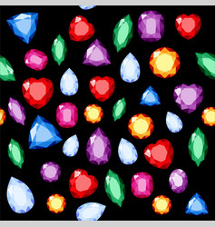 Set of realistic jewels colorful gemstones vector