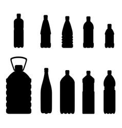 Set plastic bottle silhouette vector