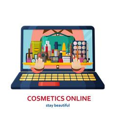 shopping online banner make up background online vector image
