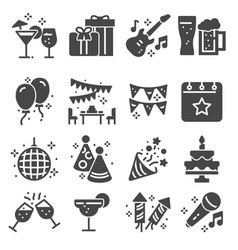 simple set party related gray icons vector image