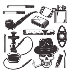 smoking tools and accessories elements vector image