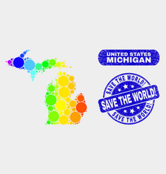 Spectral mosaic michigan state map and distress vector
