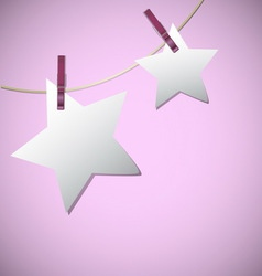 Star shape of note papers hang on string with vector image