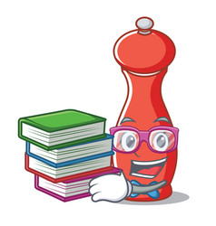 Student with book pepper mill character cartoon vector