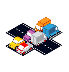 the city intersection traffic jams vector image