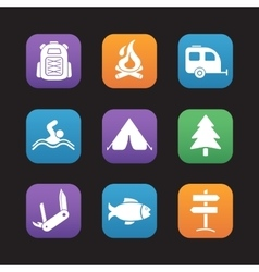 Tourism and camping flat design icons set vector
