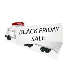 Tractor Trailer Flatbed Loading Black Friday Card vector