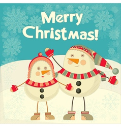 Two Cartoon Cute Snowmans vector image
