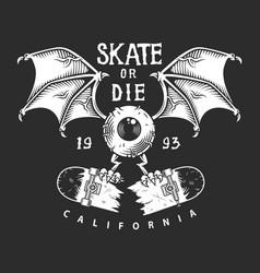 Vintage skateboarding monochrome logo vector