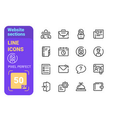 website sections line icons set vector image