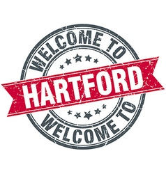 Welcome to hartford red round vintage stamp vector