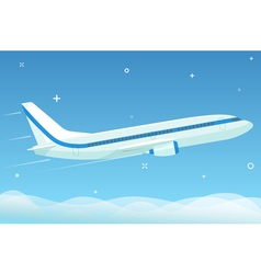 White airplane flies in the night sky with stars vector