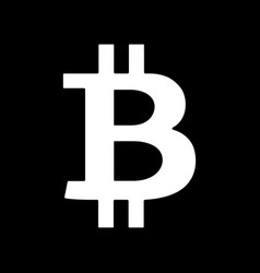 white bitcoin sign icon on black background vector image