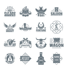 Wild west logo icons set simple style vector