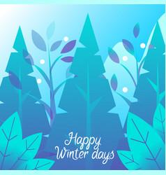 winter holiday card fir-tree and snowfall vector image