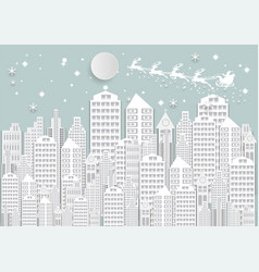 winter holiday snow in city background with santa vector image