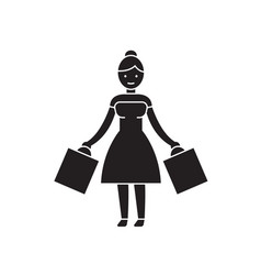 woman shopping black concept icon woman vector image