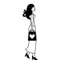 Woman with bag shopping love vector