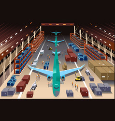 Workers in an airplane factory vector