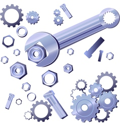 Wrench screw gear vector