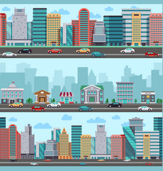 city street with cars and buildings vector image vector image