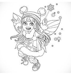 Cute little winter fairy girl in a blue coat with vector image vector image