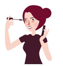 girl put mascara eye lashes make up cosmetics vector image