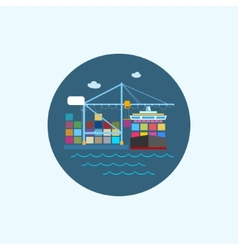 Icon with colored cargo container ship and cargo vector image vector image