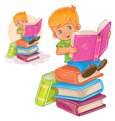little boy is sitting on a pile of books and vector image vector image