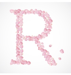 R letter Alphabet from pink petals of rose vector image vector image